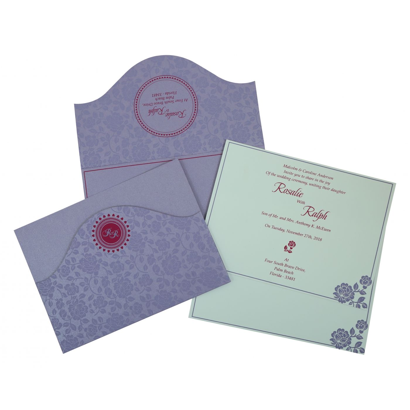 LAVENDER PURPLE SHIMMERY FLORAL THEMED - SCREEN PRINTED WEDDING INVITATION : CG-802B - IndianWeddingCards