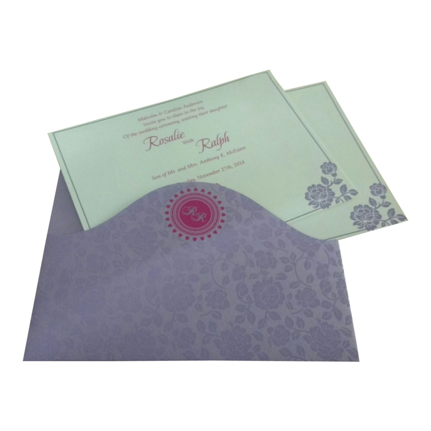 LAVENDER PURPLE SHIMMERY FLORAL THEMED - SCREEN PRINTED WEDDING INVITATION : CI-802B - IndianWeddingCards
