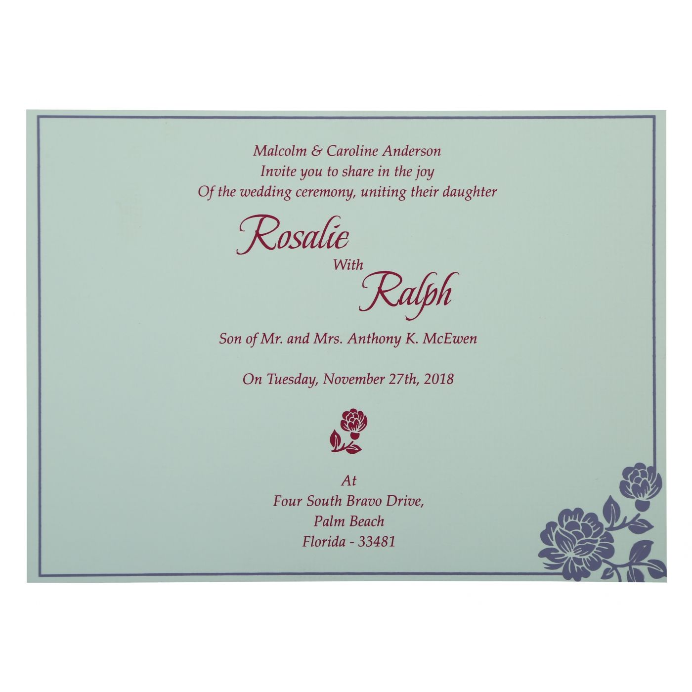 LAVENDER PURPLE SHIMMERY FLORAL THEMED - SCREEN PRINTED WEDDING INVITATION : CIN-802B - IndianWeddingCards