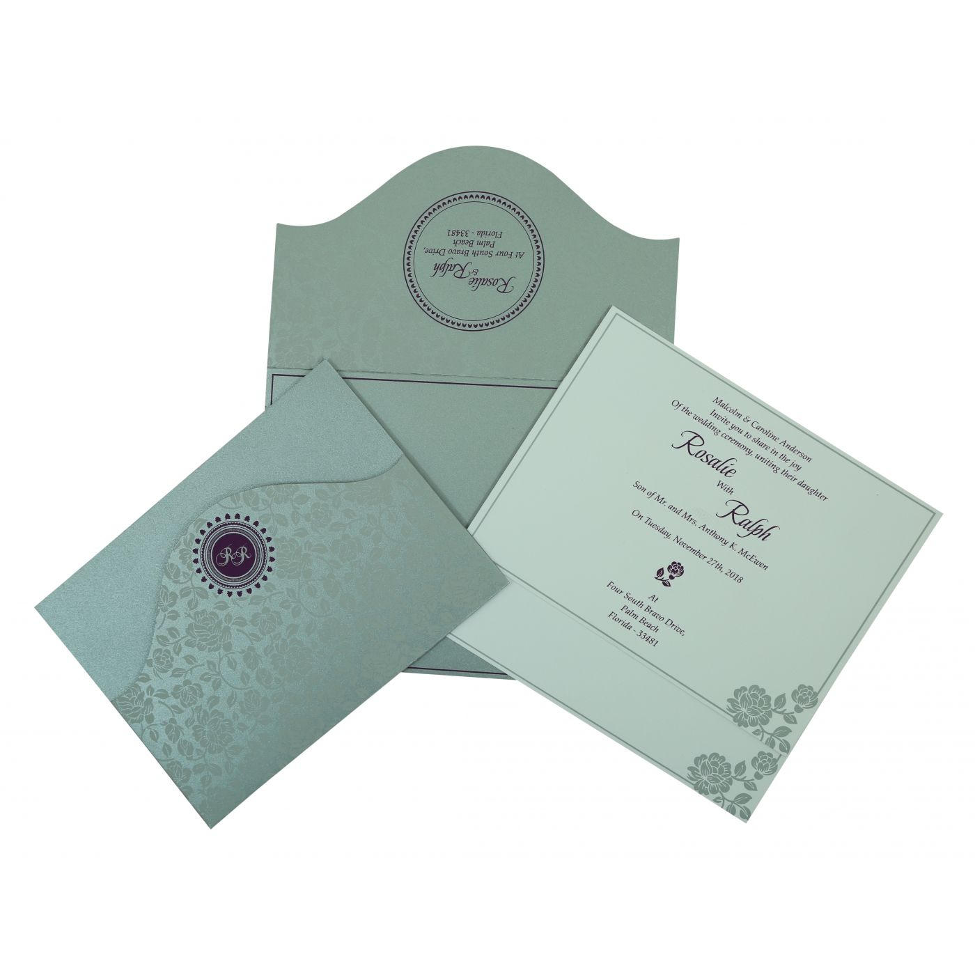 SILVER SHIMMERY FLORAL THEMED - SCREEN PRINTED WEDDING INVITATION : CRU-802A - IndianWeddingCards