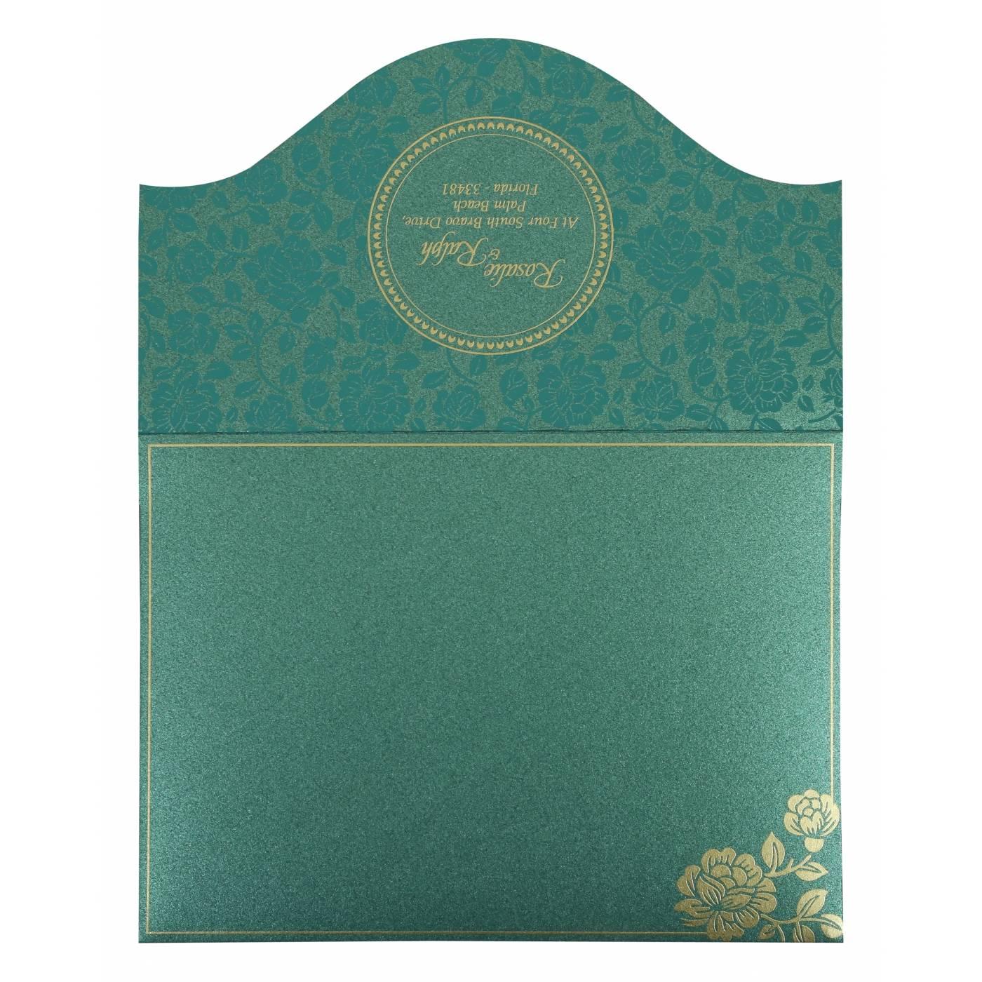 GREEN SHIMMERY FLORAL THEMED - SCREEN PRINTED WEDDING INVITATION : CRU-802C - IndianWeddingCards
