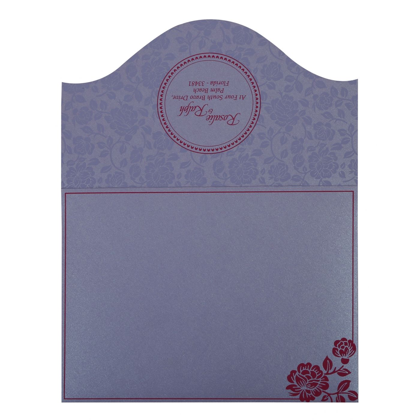 LAVENDER PURPLE SHIMMERY FLORAL THEMED - SCREEN PRINTED WEDDING INVITATION : CS-802B - IndianWeddingCards