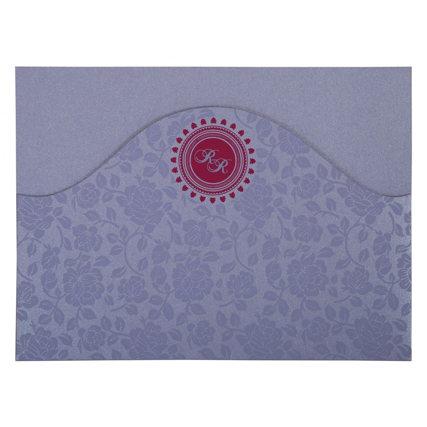 LAVENDER PURPLE SHIMMERY FLORAL THEMED - SCREEN PRINTED WEDDING INVITATION : CSO-802B - IndianWeddingCards