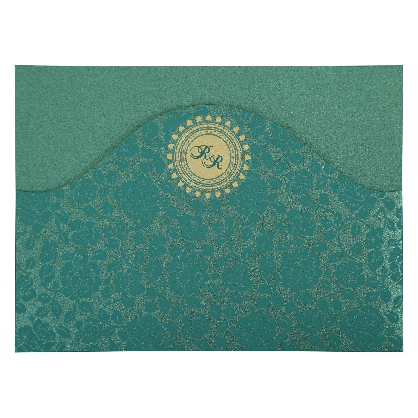 GREEN SHIMMERY FLORAL THEMED - SCREEN PRINTED WEDDING INVITATION : CSO-802C - IndianWeddingCards