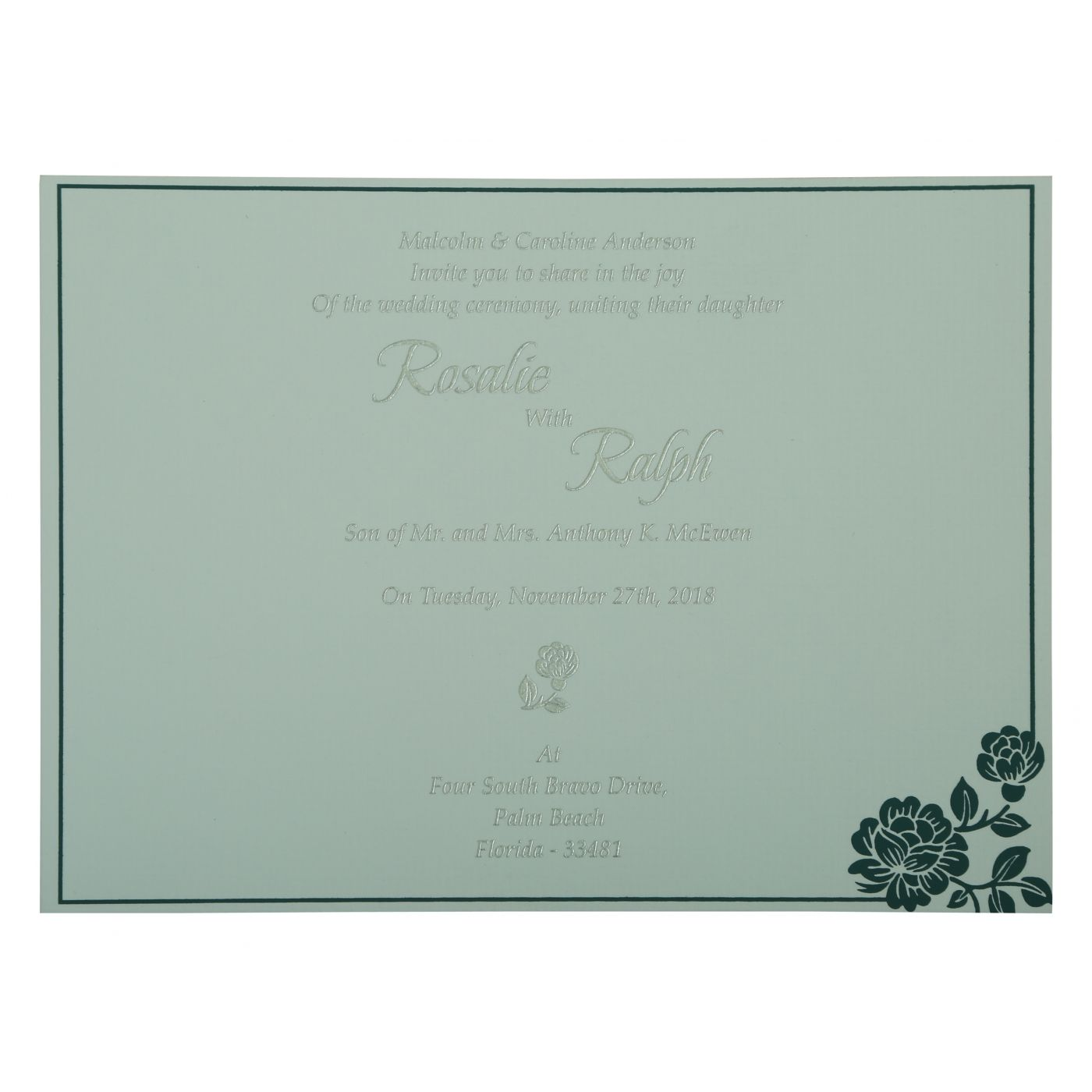 SAGE GREEN SHIMMERY FLORAL THEMED - SCREEN PRINTED WEDDING INVITATION : CSO-802D - IndianWeddingCards
