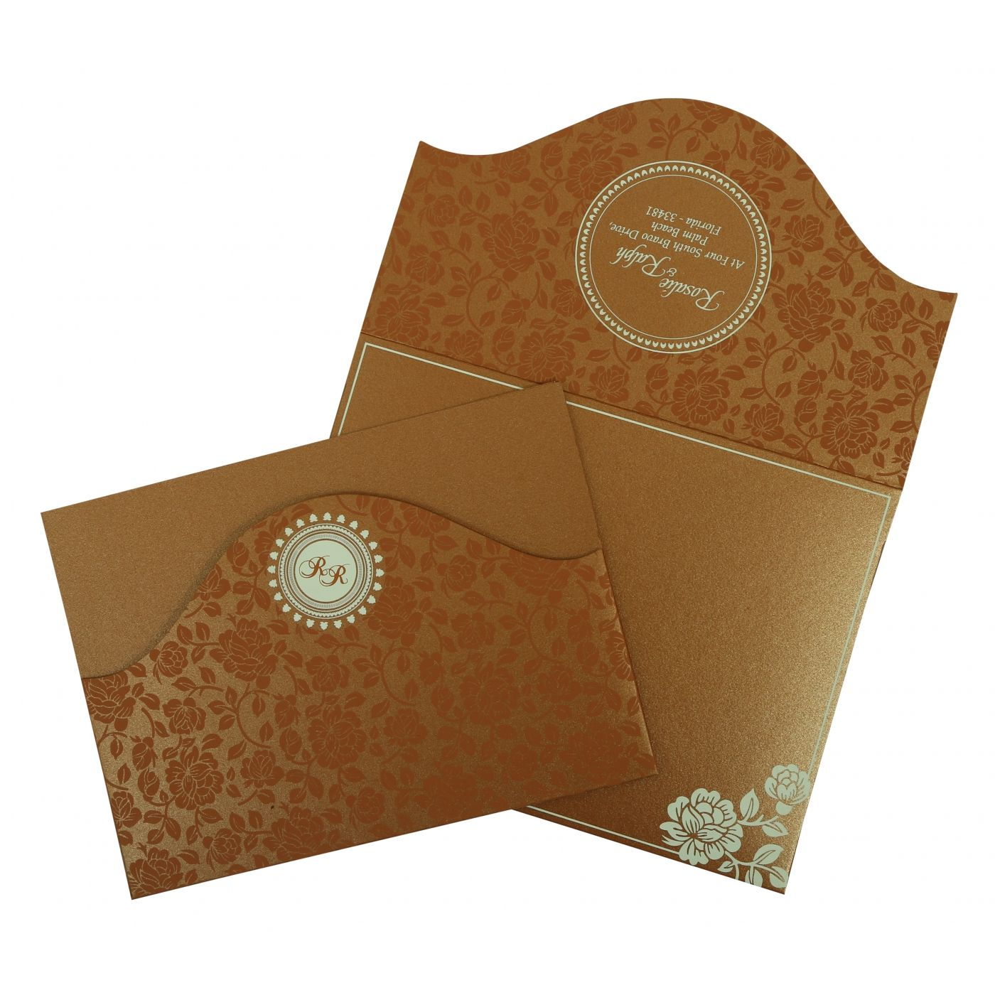 COPPER SHIMMERY FLORAL THEMED - SCREEN PRINTED WEDDING INVITATION : CSO-802E - IndianWeddingCards