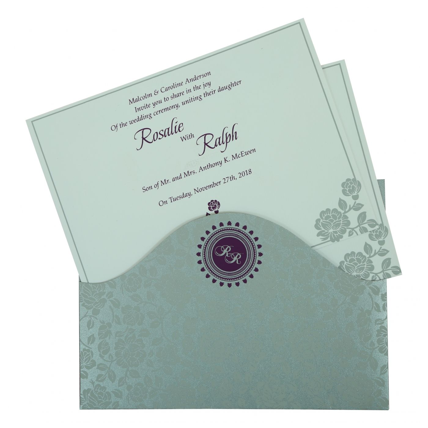 SILVER SHIMMERY FLORAL THEMED - SCREEN PRINTED WEDDING INVITATION : CW-802A - IndianWeddingCards
