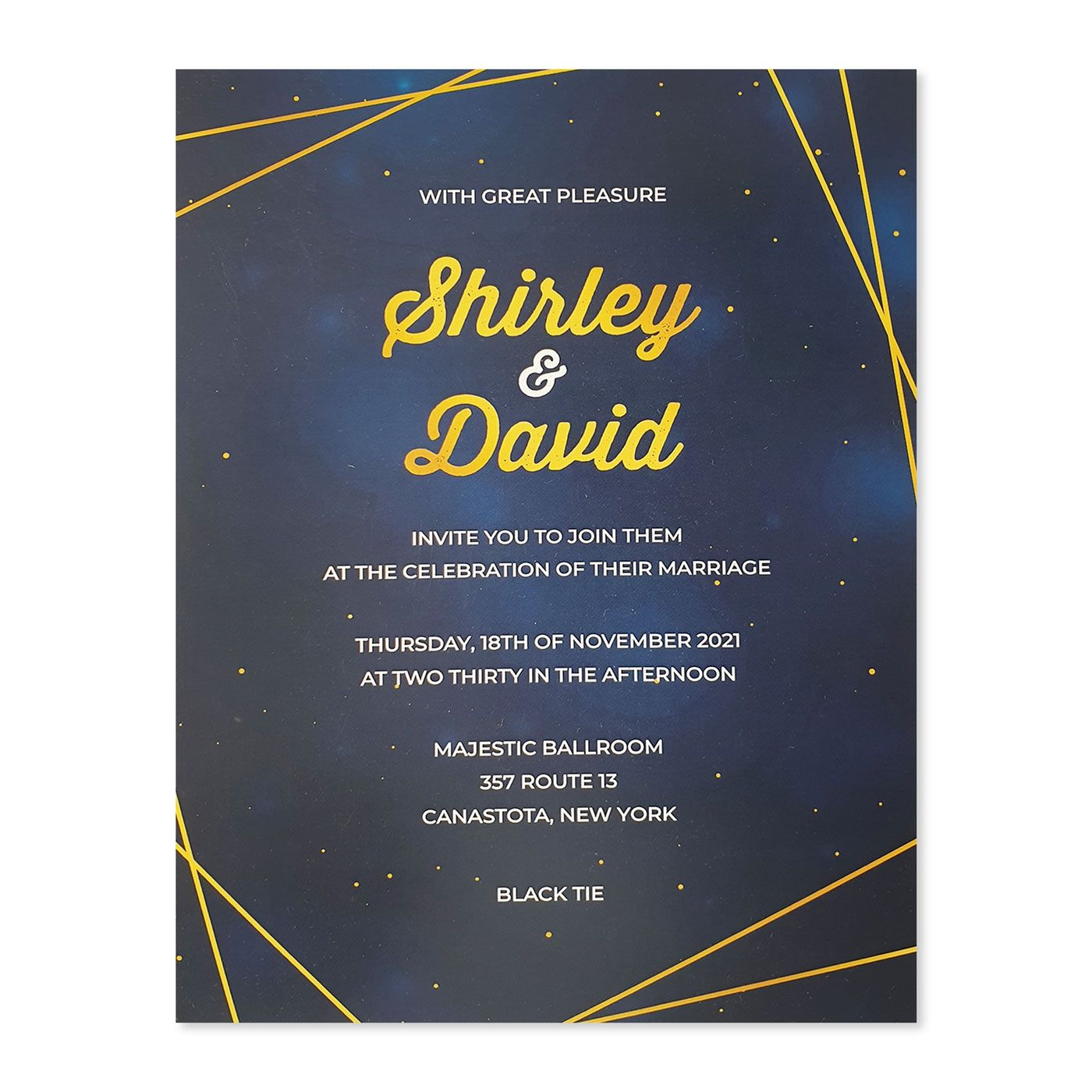 WHITE GLOSSY WEDDING INVITATION : C-SPARKLING_GALAXY - IndianWeddingCards