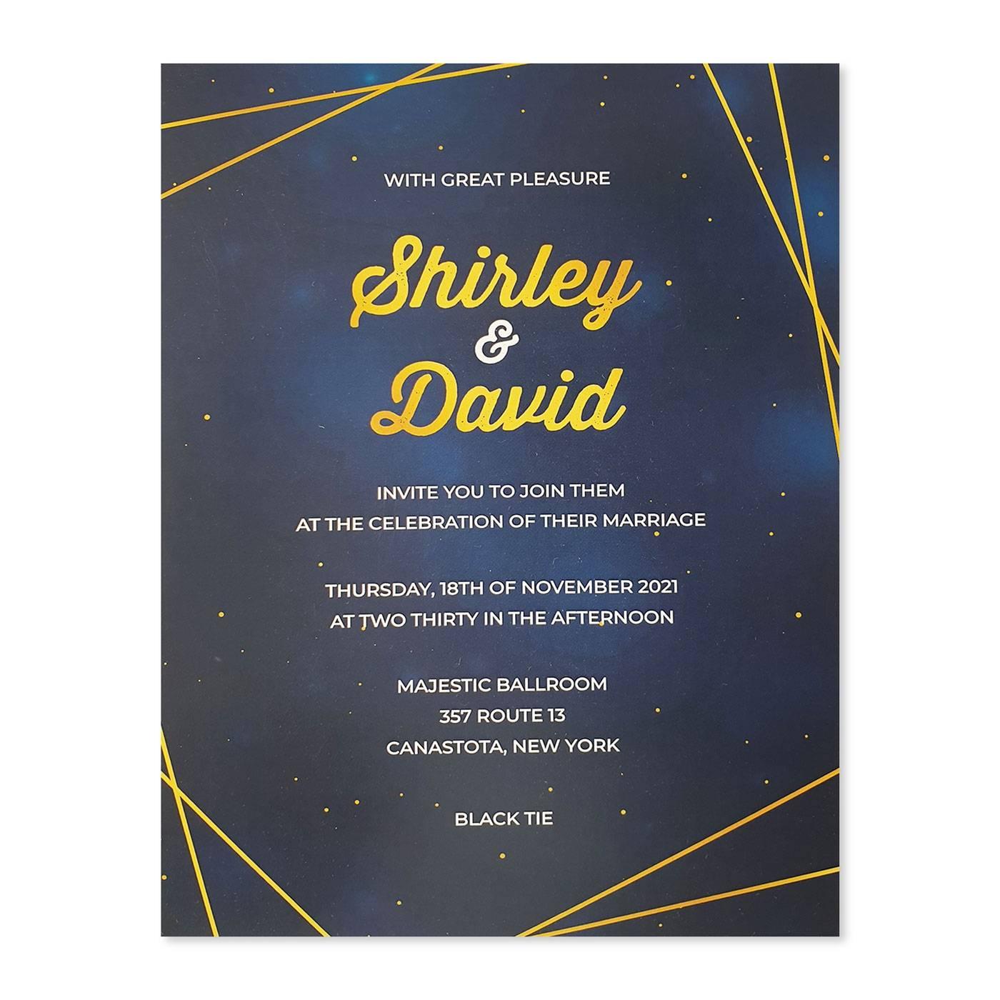 WHITE GLOSSY WEDDING INVITATION : SPARKLING_GALAXY - 123WeddingCards