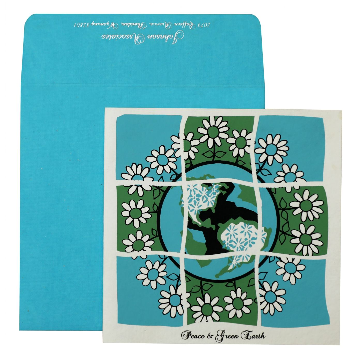WHITE HANDMADE COTTON SCREEN PRINTED HOLIDAY CARDS : CH-850 - IndianWeddingCards