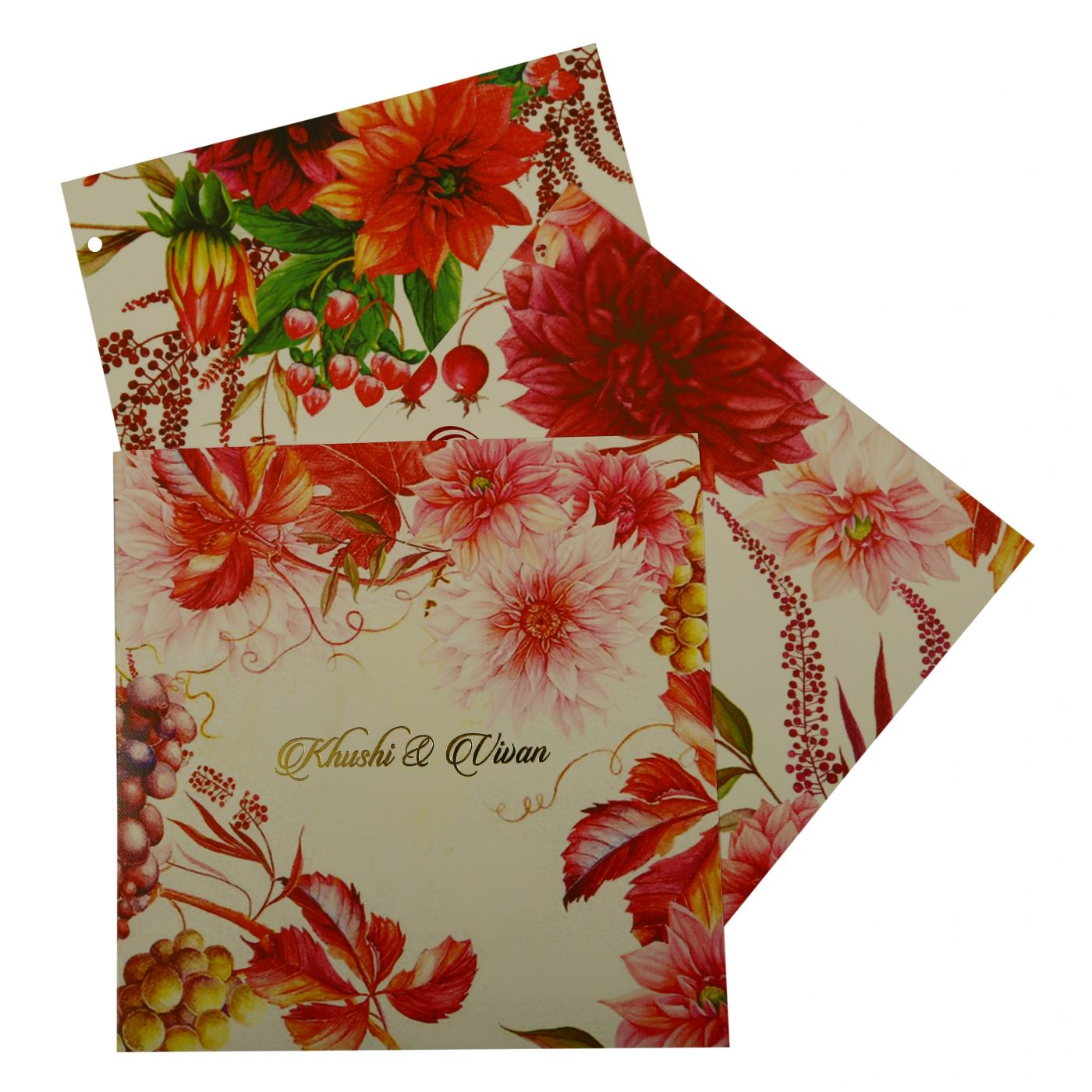 WHITE MATTE FLORAL THEMED - OFFSET PRINTED WEDDING INVITATION : CD-1912 - IndianWeddingCards