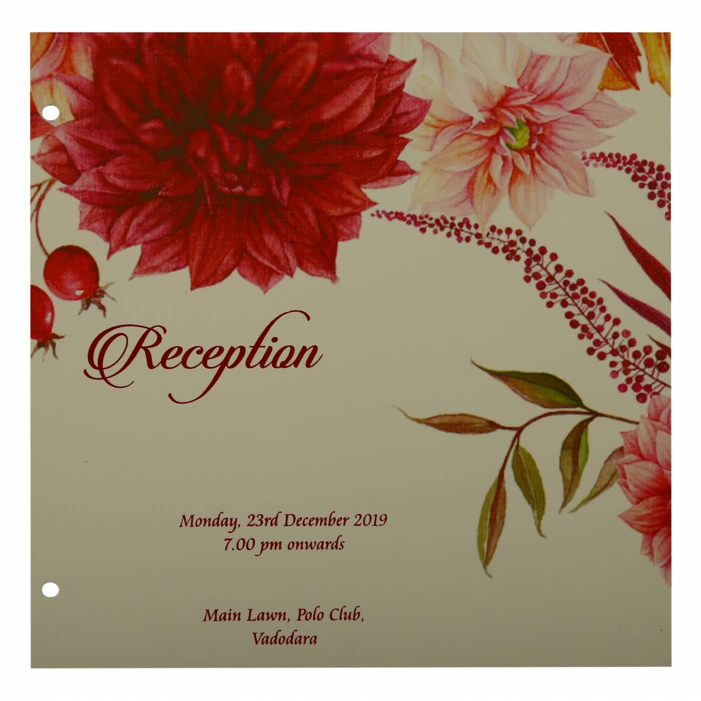 WHITE MATTE FLORAL THEMED - OFFSET PRINTED WEDDING INVITATION : CIN-1912 - IndianWeddingCards