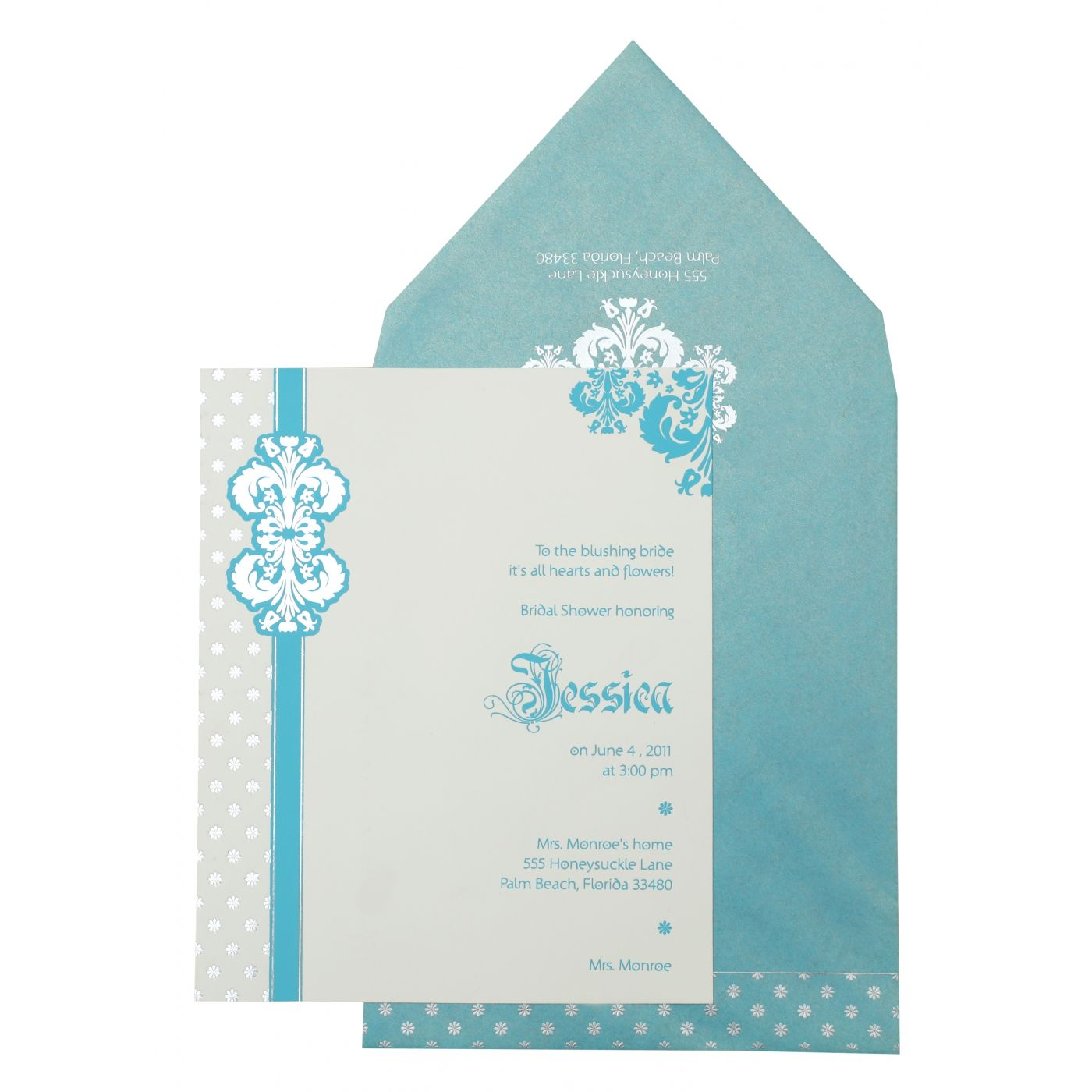 WHITE MATTE PAISLEY THEMED - FOIL STAMPED PARTY CARDS : CPY-877 - IndianWeddingCards
