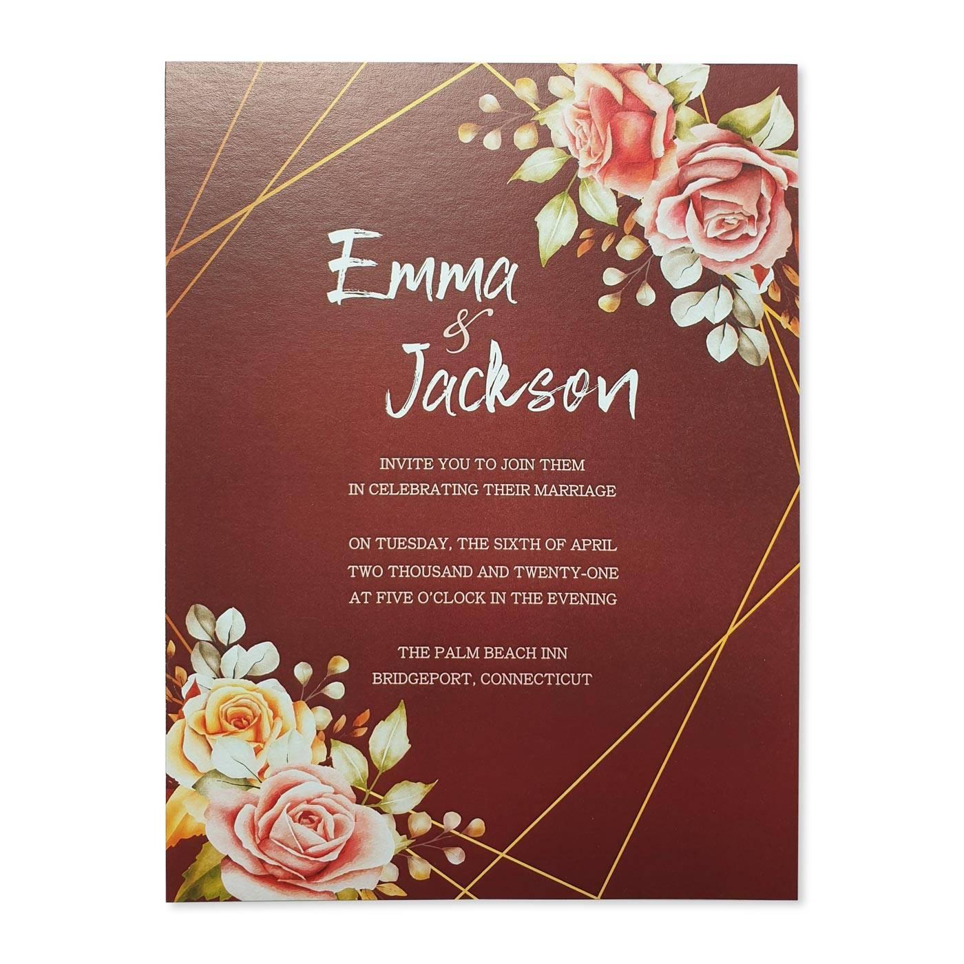 WHITE SHIMMERY FLORAL THEMED - SCREEN PRINTED WEDDING INVITATION : REDWOOD_JARDINIER - 123WeddingCards