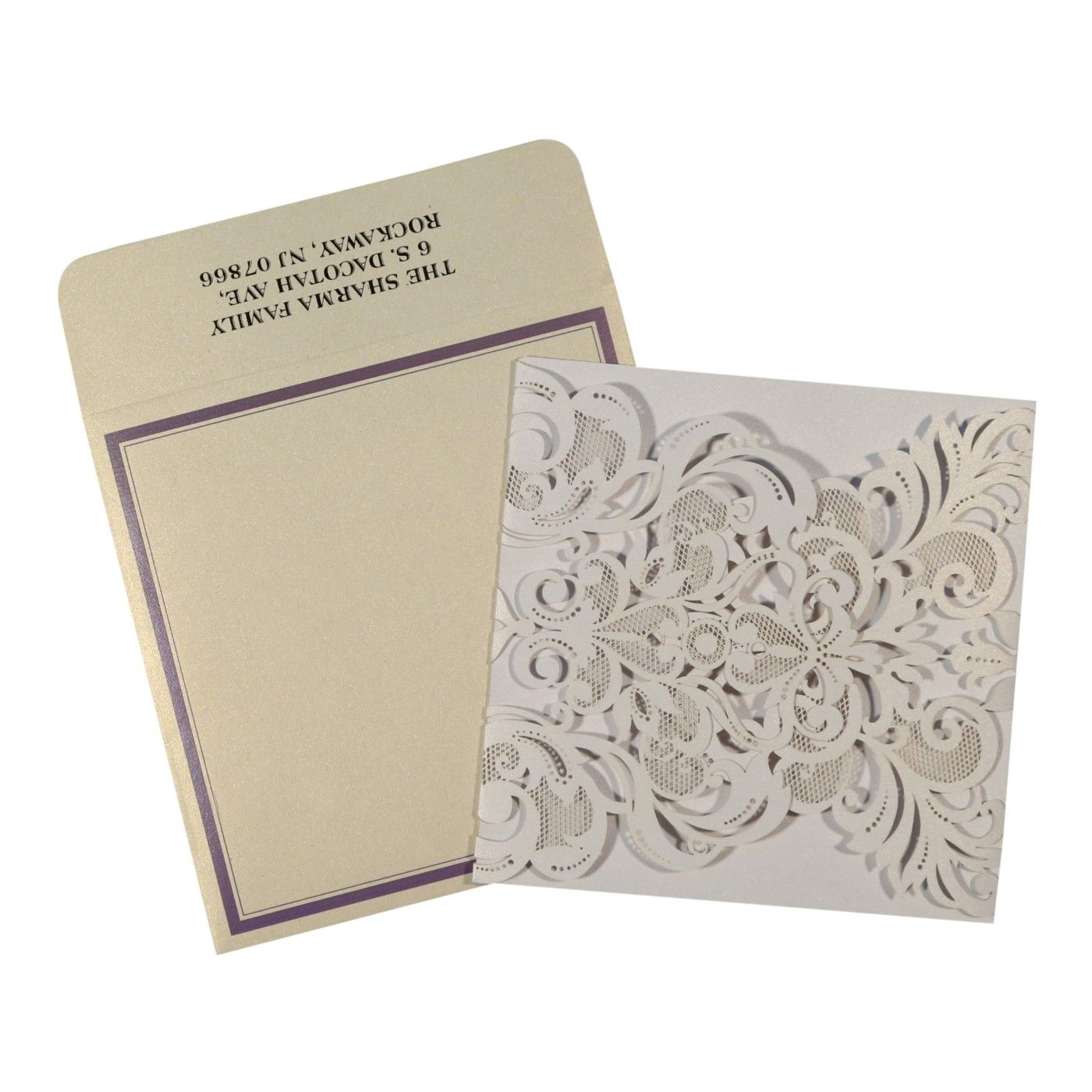 WHITE SHIMMERY LASER CUT WEDDING INVITATION : CW-1592 - IndianWeddingCards