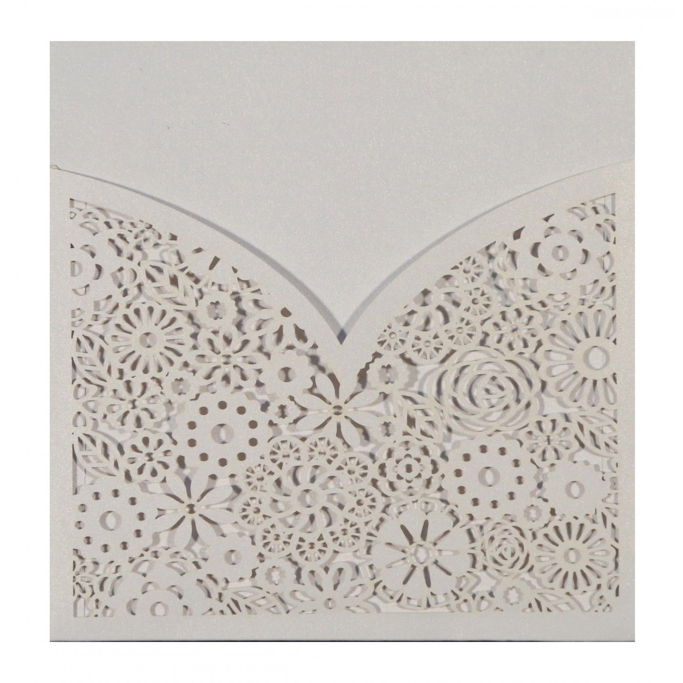 WHITE SHIMMERY LASER CUT WEDDING INVITATION : CW-1593 - IndianWeddingCards