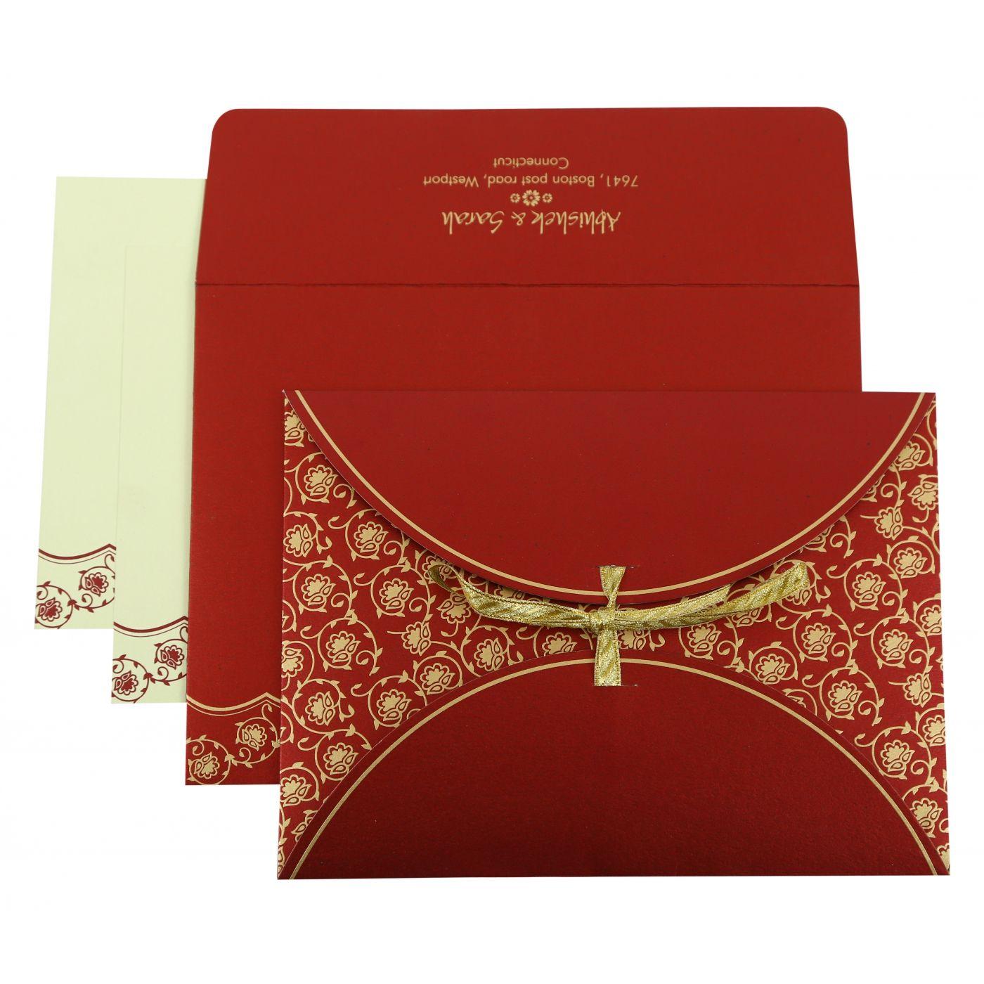 WINE RED SHIMMERY BUTTERFLY THEMED - SCREEN PRINTED WEDDING INVITATION : CW-821D - IndianWeddingCards