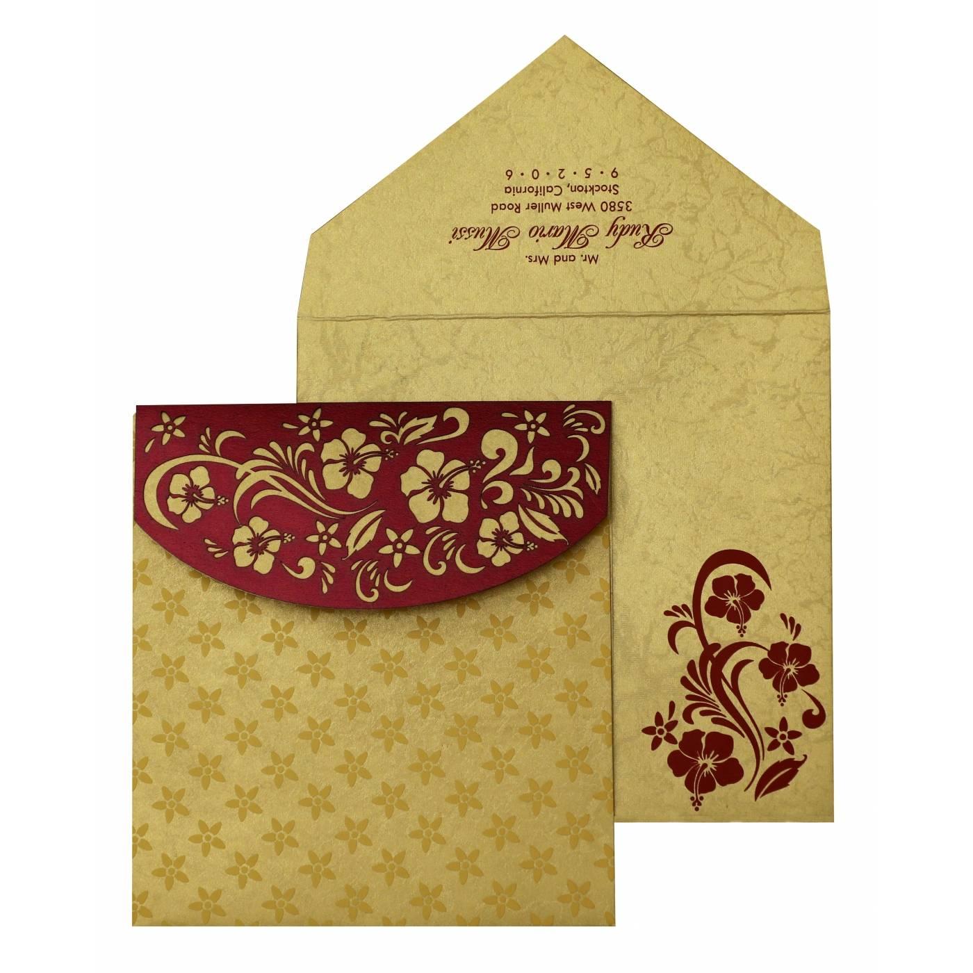 WINE RED SHIMMERY FLORAL THEMED - LASER CUT WEDDING INVITATION : G-828 - 123WeddingCards