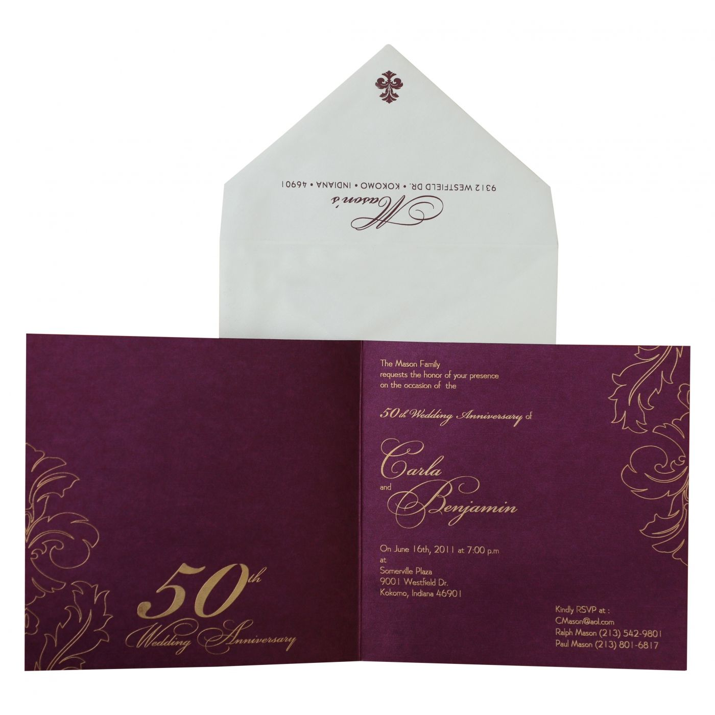 WINE RED SHIMMERY PAISLEY THEMED - SCREEN PRINTED PARTY CARDS : CPY-886 - IndianWeddingCards