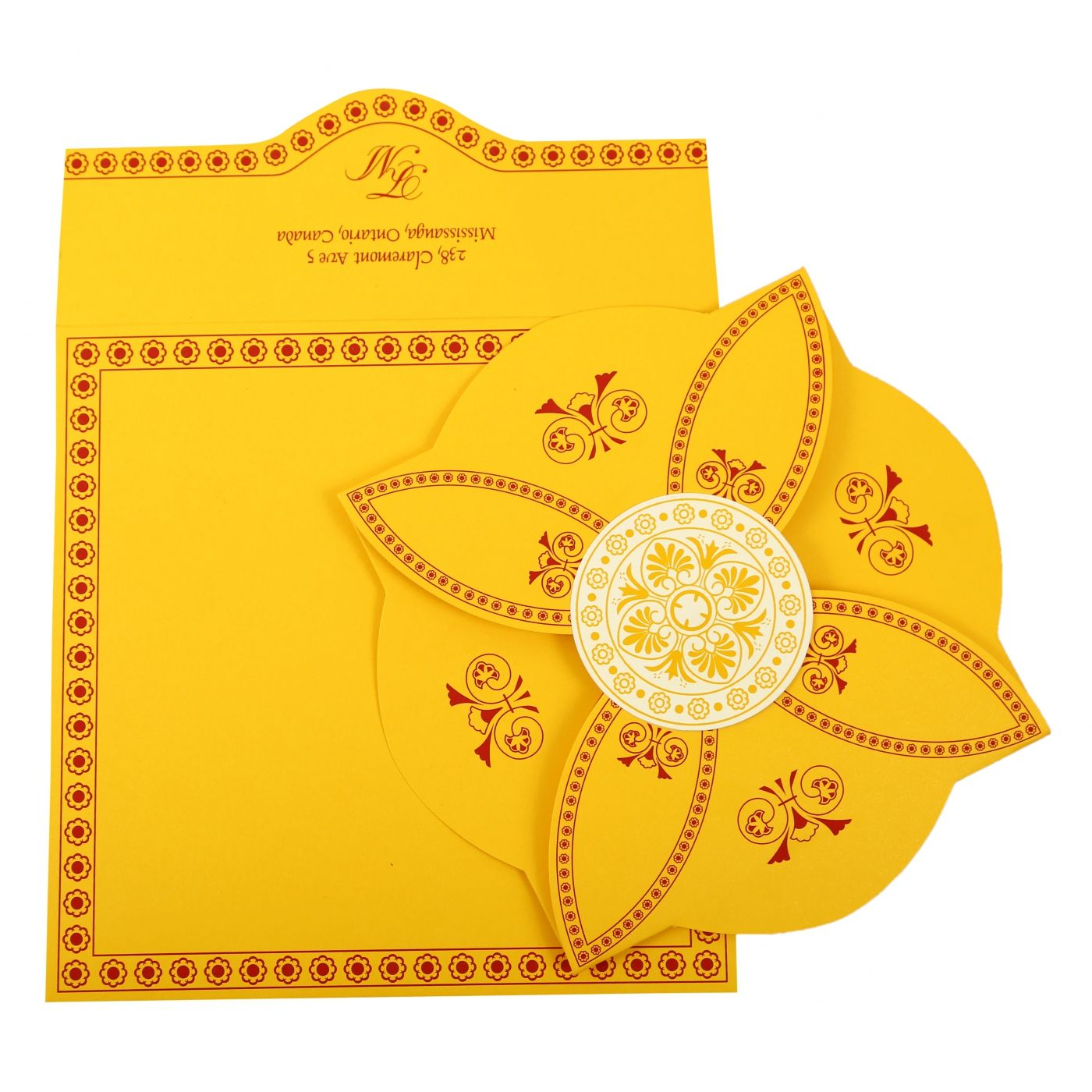 YELLOW BUTTERFLY THEMED - SCREEN PRINTED WEDDING INVITATION : CG-820C - IndianWeddingCards