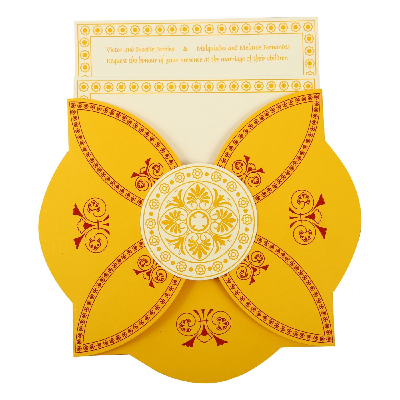 YELLOW BUTTERFLY THEMED - SCREEN PRINTED WEDDING INVITATION : CI-820C - IndianWeddingCards