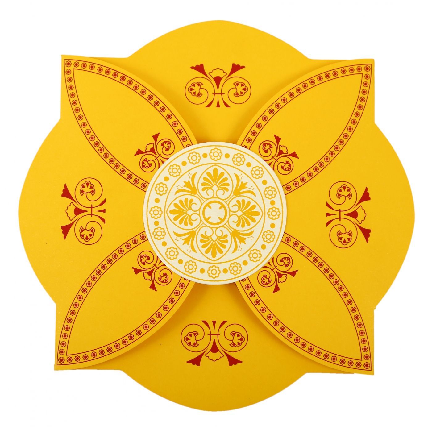 YELLOW BUTTERFLY THEMED - SCREEN PRINTED WEDDING INVITATION : CW-820C - IndianWeddingCards