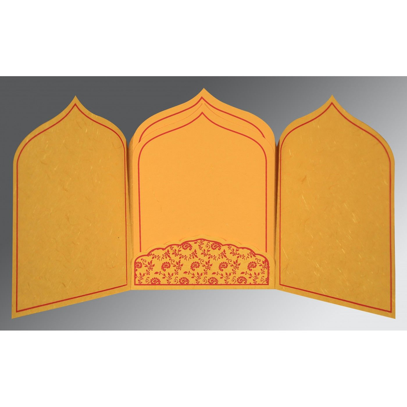 MUSTARD YELLOW HANDMADE SILK PAISLEY THEMED - GLITTER WEDDING INVITATION : CI-8208C - IndianWeddingCards