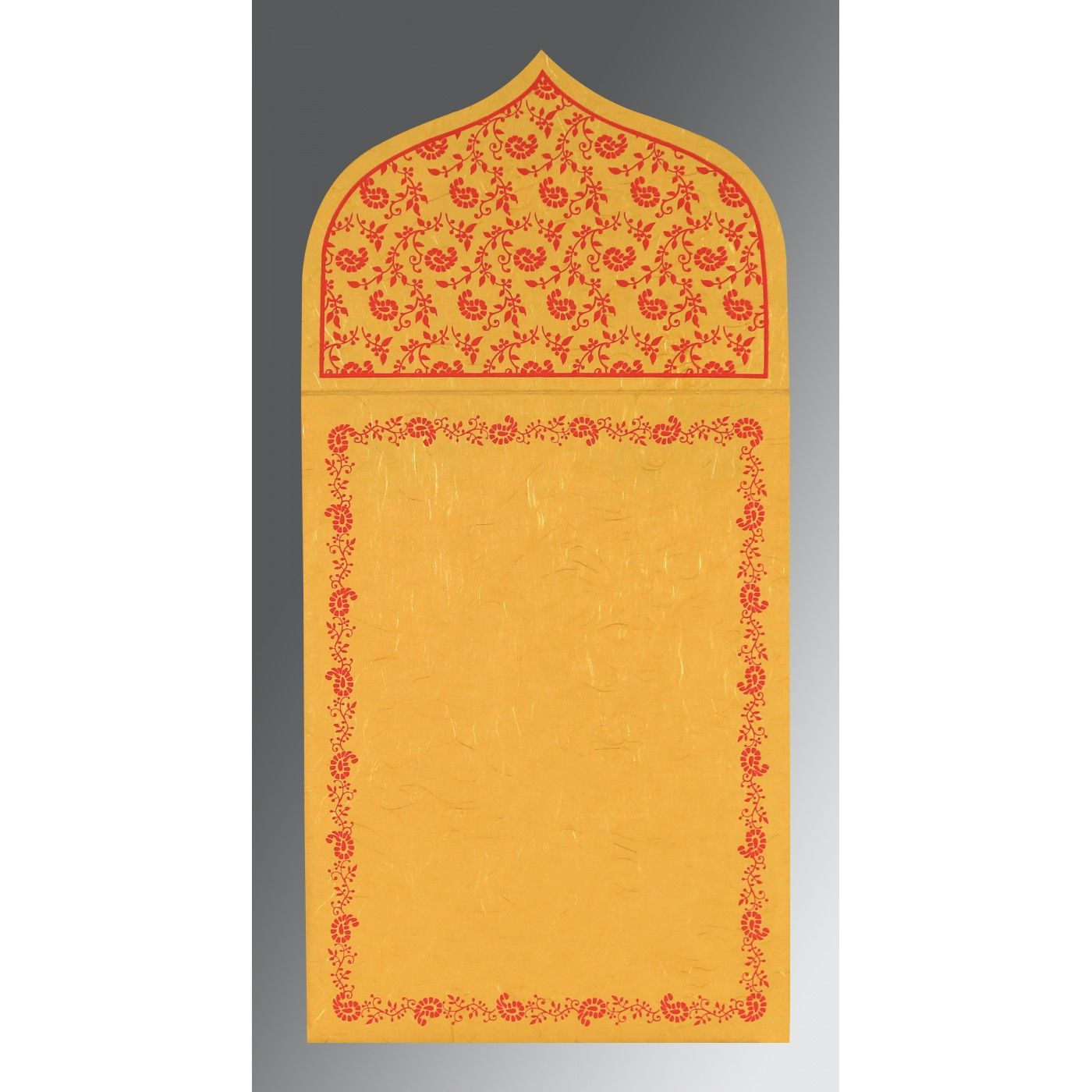 MUSTARD YELLOW HANDMADE SILK PAISLEY THEMED - GLITTER WEDDING INVITATION : CIN-8208C - IndianWeddingCards
