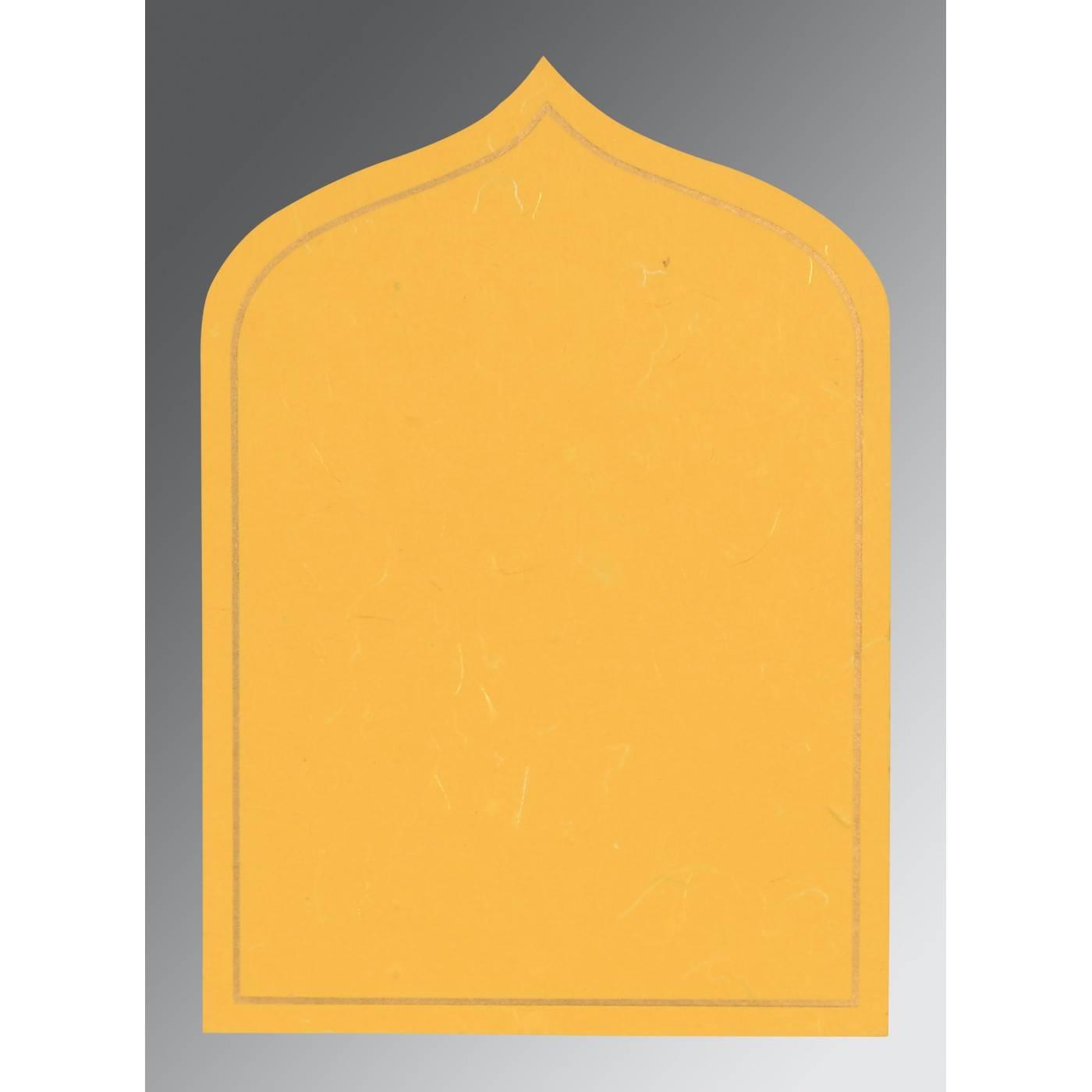 YELLOW HANDMADE SILK PAISLEY THEMED - GLITTER WEDDING INVITATION : CIN-8208N - IndianWeddingCards