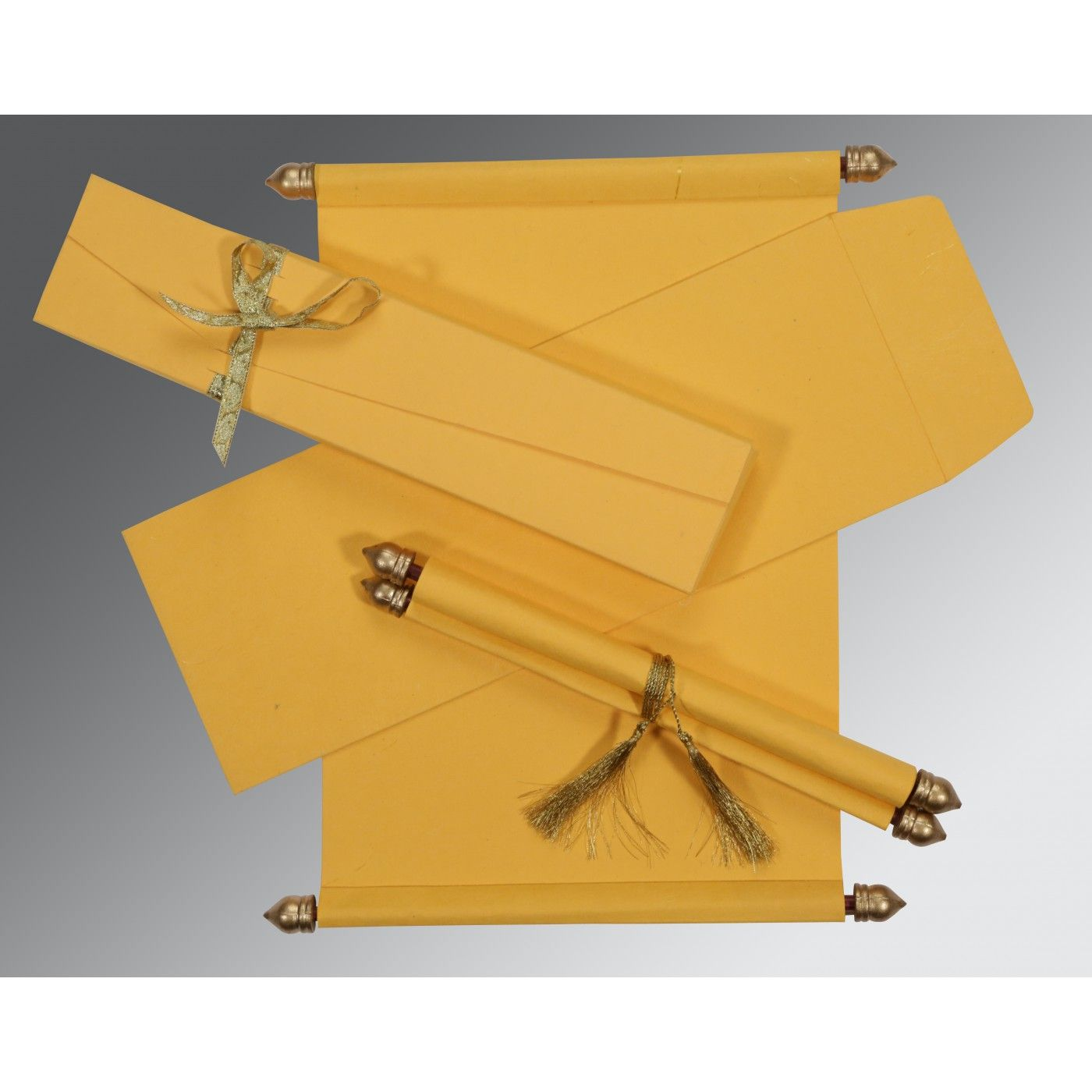 YELLOW HANDMADE SILK WEDDING CARD : CSC-5001C - IndianWeddingCards