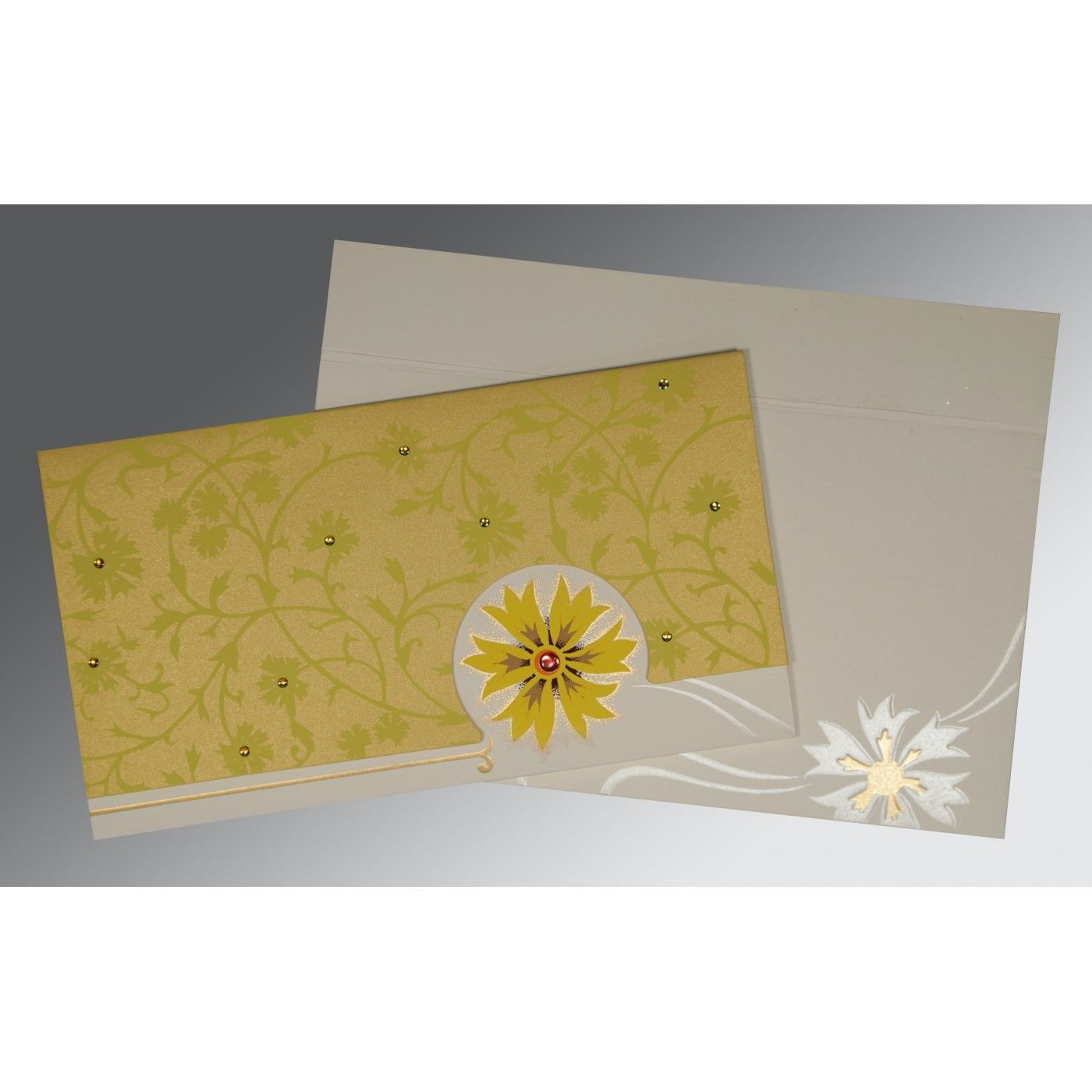 OFF-WHITE YELLOW MATTE FLORAL THEMED - EMBOSSED WEDDING CARD : CIN-1380 - IndianWeddingCards