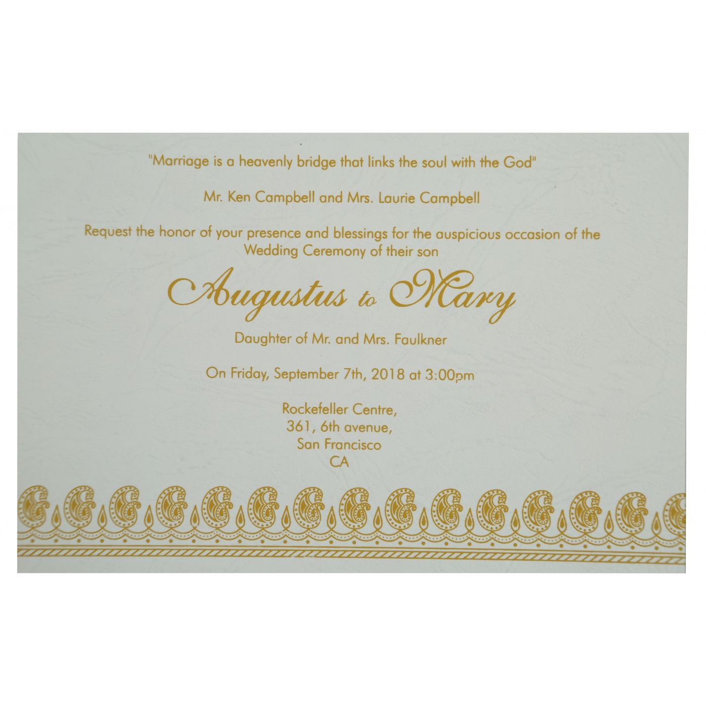 YELLOW MATTE PAISLEY THEMED - SCREEN PRINTED WEDDING INVITATION : CD-807C - IndianWeddingCards