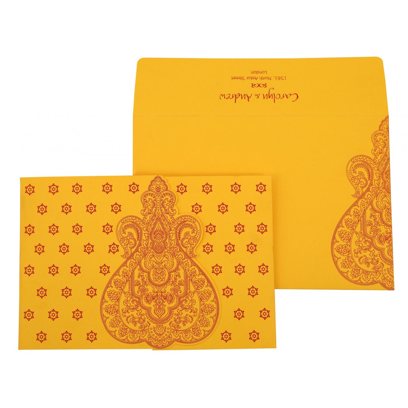 MUSTARD YELLOW PAISLEY THEMED - SCREEN PRINTED WEDDING INVITATION : CD-801A - IndianWeddingCards