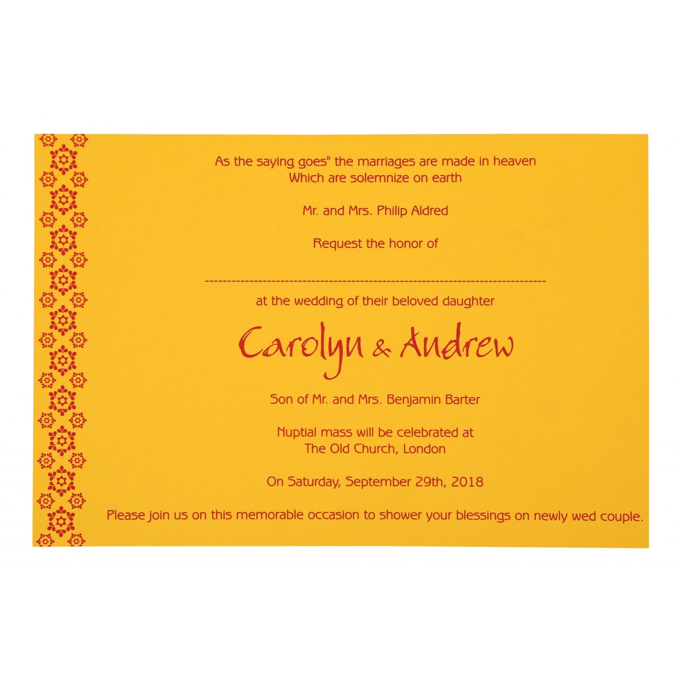MUSTARD YELLOW PAISLEY THEMED - SCREEN PRINTED WEDDING INVITATION : CI-801A - IndianWeddingCards