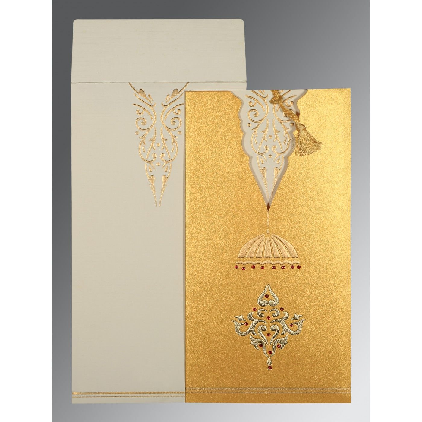 YELLOW GOLD SHIMMERY FOIL STAMPED WEDDING CARD : CD-1350 - IndianWeddingCards