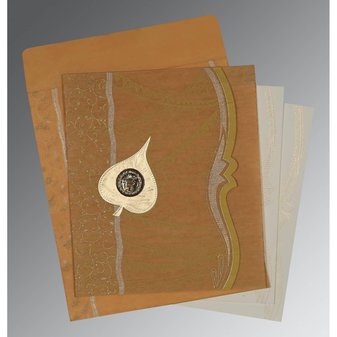 MUSTARD YELLOW SHIMMERY EMBOSSED WEDDING CARD : CRU-8210O - IndianWeddingCards