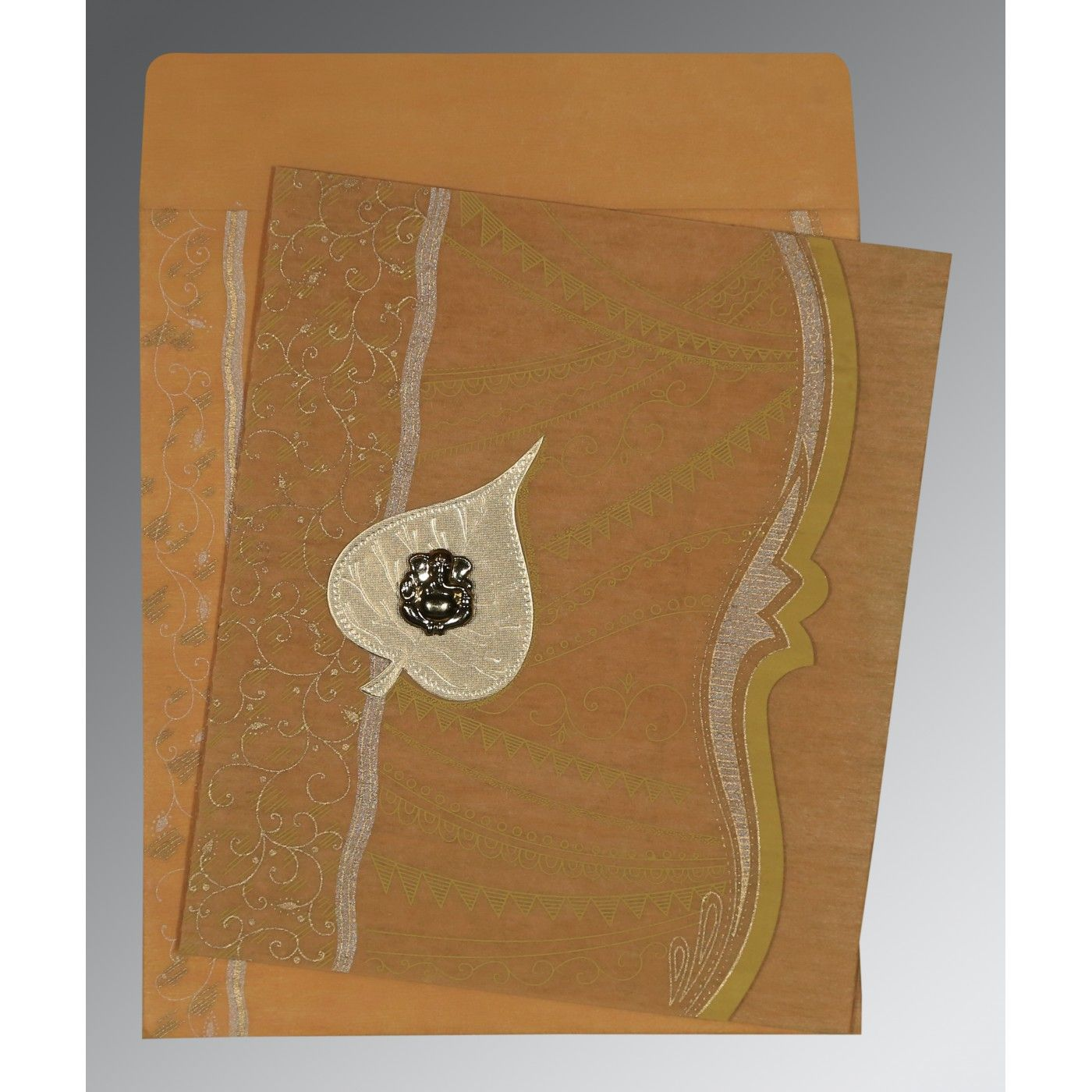 MUSTARD YELLOW SHIMMERY EMBOSSED WEDDING CARD : CW-8210O - IndianWeddingCards