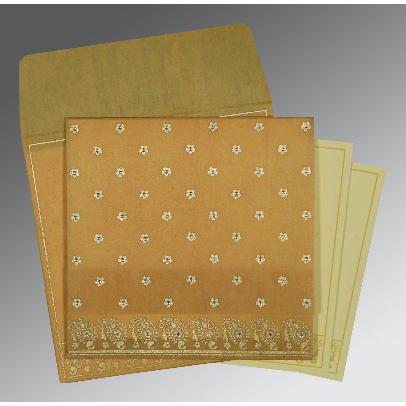 SATIN GOLD WOOLY FLORAL THEMED - SCREEN PRINTED WEDDING CARD : CIN-8218N - IndianWeddingCards