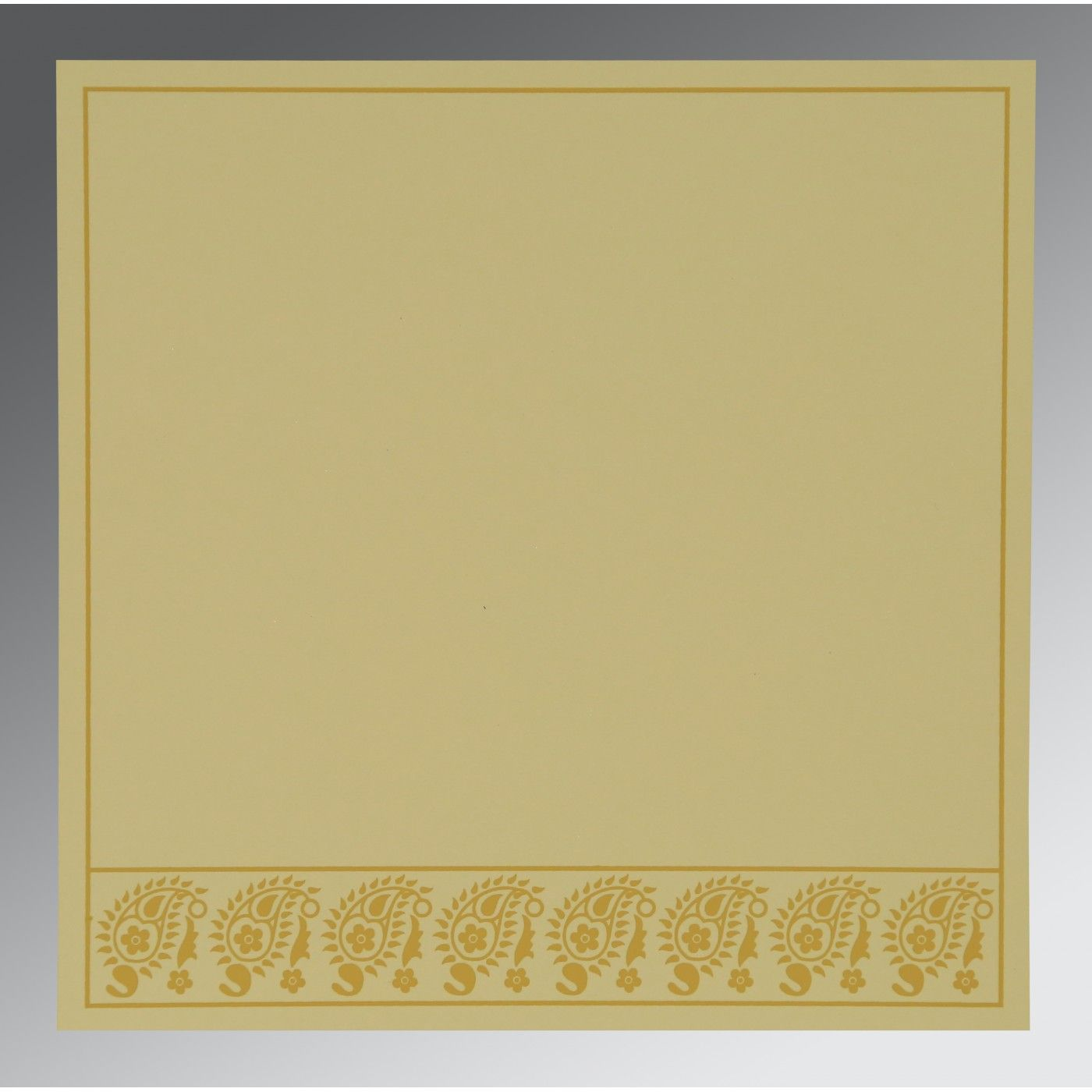 SATIN GOLD WOOLY FLORAL THEMED - SCREEN PRINTED WEDDING CARD : CW-8218N - IndianWeddingCards