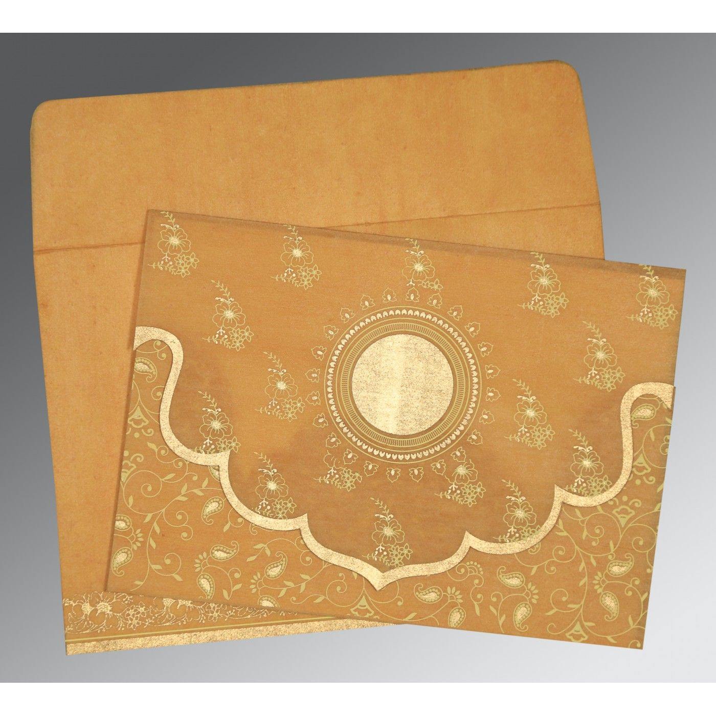 EARTH YELLOW WOOLY SCREEN PRINTED WEDDING INVITATION : CD-8207F - IndianWeddingCards