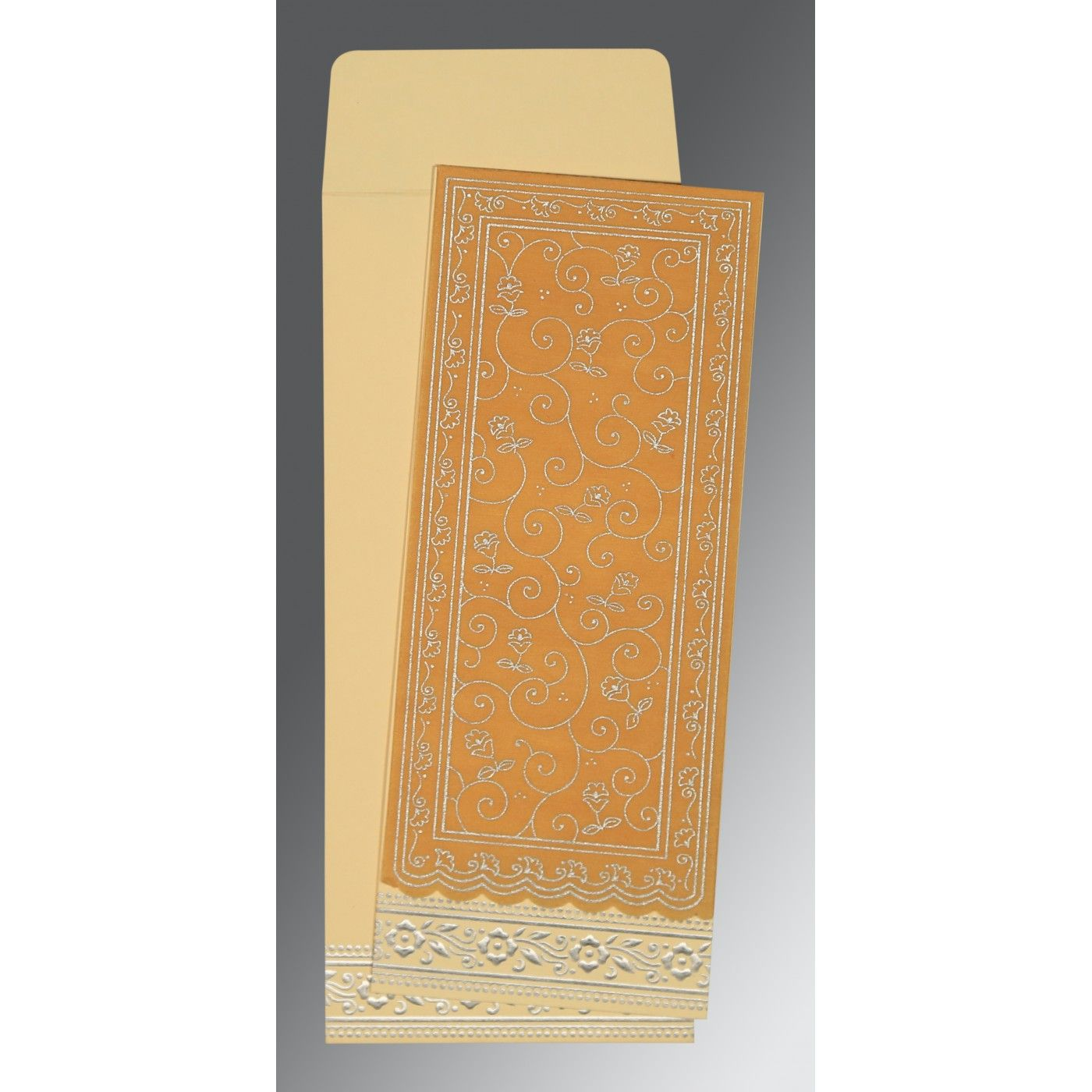 YELLOW WOOLY SCREEN PRINTED WEDDING INVITATION : CG-8220O - IndianWeddingCards