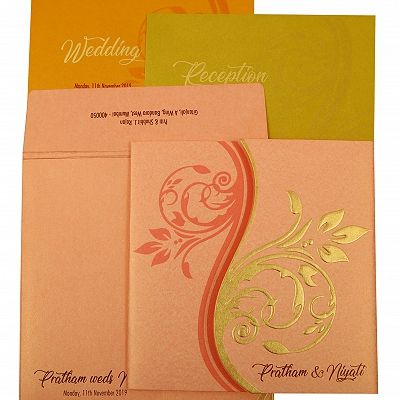 BABY PINK SHIMMERY FLORAL THEMED - EMBOSSED WEDDING INVITATION : CCW-1900