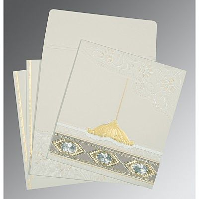 OFF-WHITE MATTE BOX THEMED - FOIL STAMPED WEDDING CARD : CS-1228
