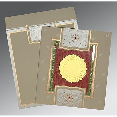 KHAKI MATTE EMBOSSED WEDDING CARD : CCD-1144