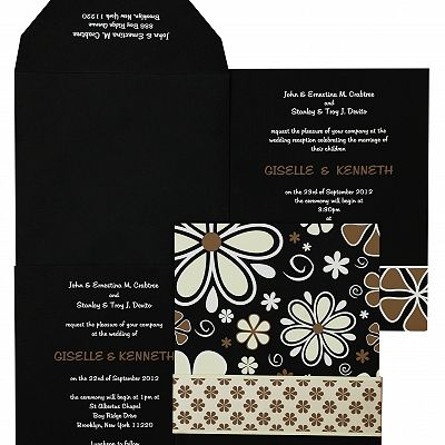 BLACK MATTE FLORAL THEMED - SCREEN PRINTED WEDDING INVITATION : CD-842