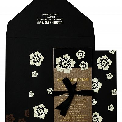 BLACK MATTE FLORAL THEMED - SCREEN PRINTED WEDDING INVITATION : CI-825