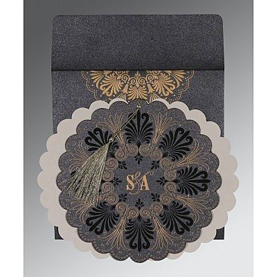 GRAPHITE GREY SHIMMERY FLORAL THEMED - EMBOSSED WEDDING CARD : CSO-8238D