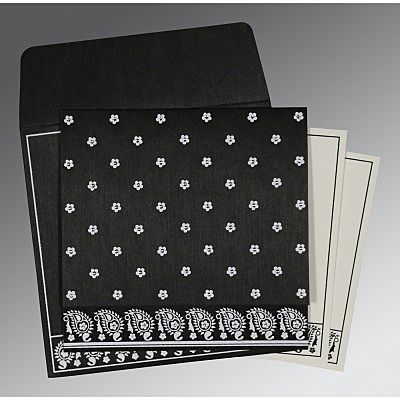 BLACK WOOLY FLORAL THEMED - SCREEN PRINTED WEDDING CARD : IN-8218L