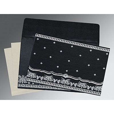 BLACK WOOLY FOIL STAMPED WEDDING INVITATION : IN-8241O