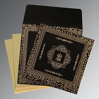 BLACK WOOLY GLITTER WEDDING CARD : IN-8205K